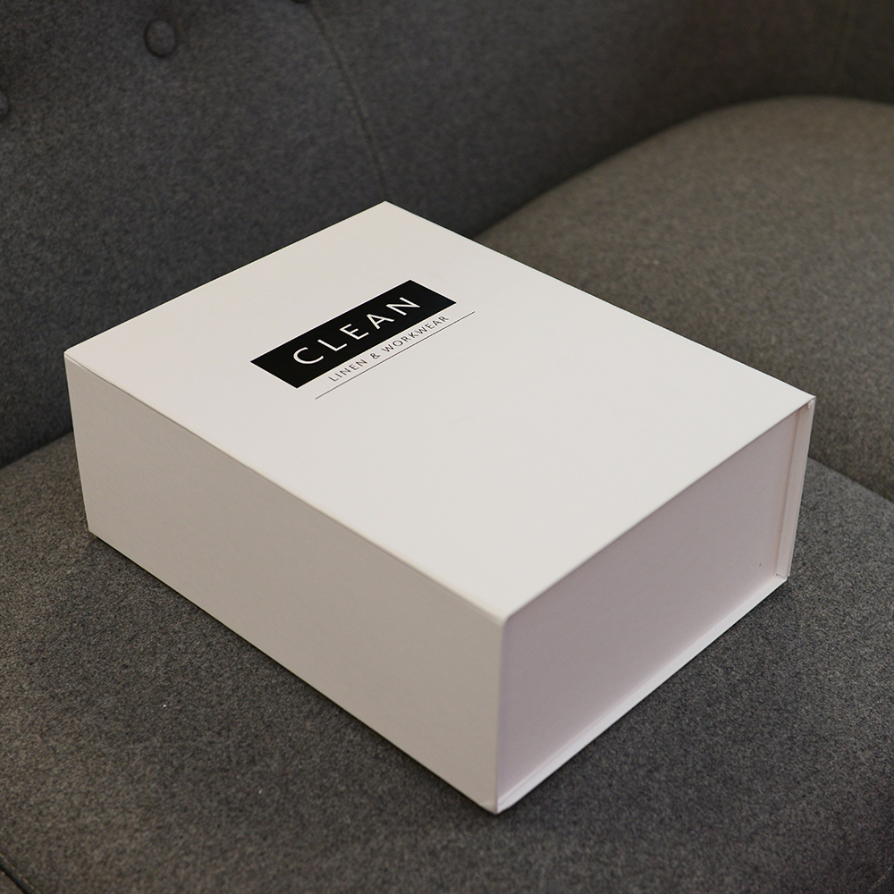 Clean linen and workwear personalised packaging